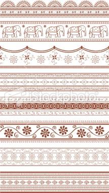 Mehndi Sari Borders (Vector) Royalty Free Stock Vector Art Illustration