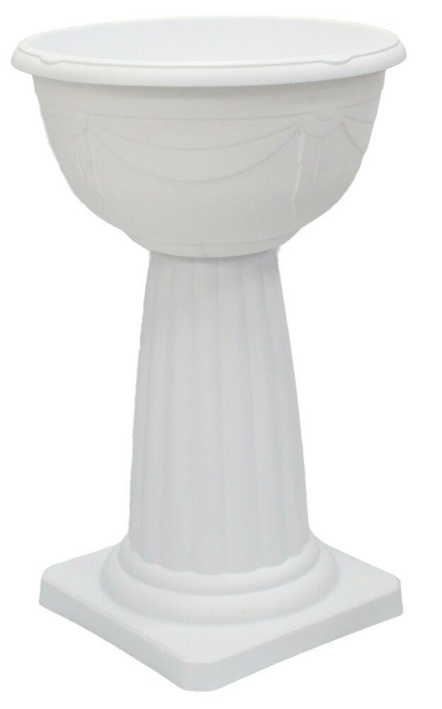 Large White Plastic Plant Pot Flower Planter Urn Planter On Pedestal 62cm Tall Whitefurze In 2020 Plastic Plant Pots Flower Pots Plastic Plants