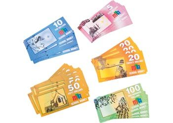 Bank Notes - 100 In Wallet A set of 100 brightly coloured full size bank notes