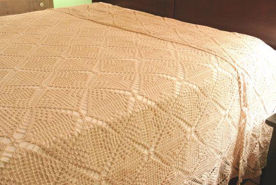 Vintage Hand-Crocheted Bedspread Ecru Queen Size by RiversideMills