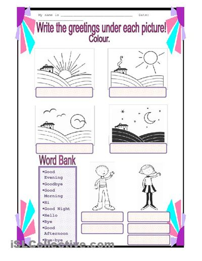 spanish worksheets for kindergarten | Spanish Greetings Worksheet