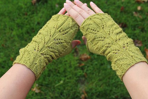 Green Fingers Fingerless Mitts pattern by Irina Pi