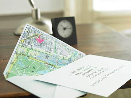 Kuvert mit Anfahrtsplan - toll für Einladung zur Einweihungsparty