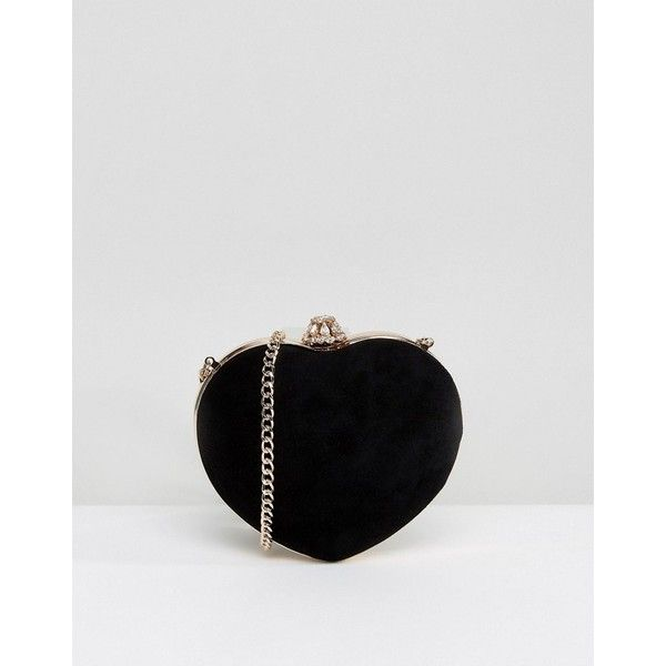 Dune Heart Bag in Black ($105) ❤ liked on Polyvore featuring bags, handbags, shoulder bags, black, dune purse, suede purse, heart shaped purse, embellished handbags and chain strap shoulder bag
