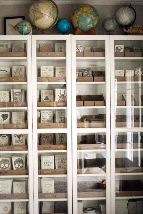 greeting card inventory storage - love the billy bookcases