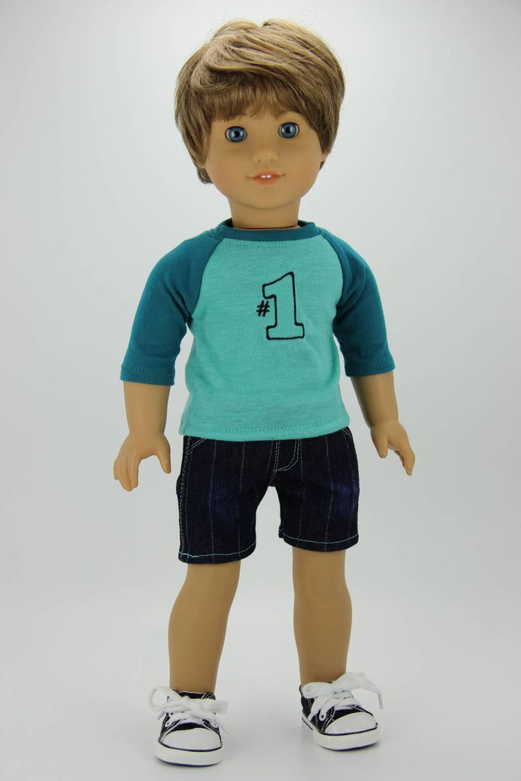 Handmade 18 inch doll clothes - Boy teal and aqua 2 piece shorts outfit (610) by DolliciousClothes on Etsy