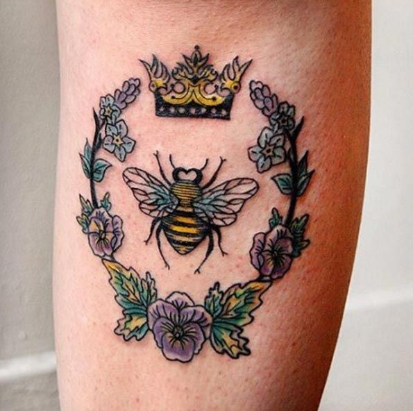 Queen bee tattoo by Jessica Channer
