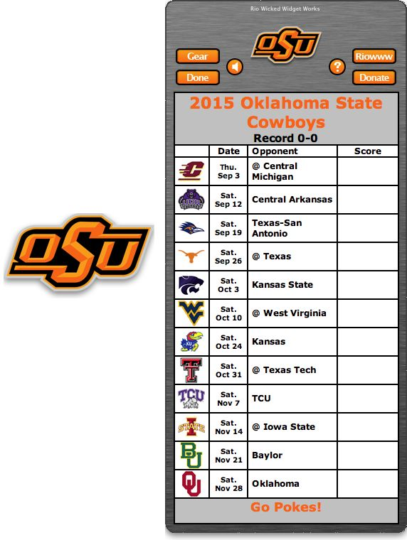 Free 2015 Oklahoma State Cowboys Football Schedule Widget - Go Pokes!   http://riowww.com/teamPages/Oklahoma_State_Cowboys.htm