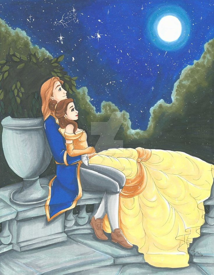 Belle and Prince Adam in the night sky with sparkling stars