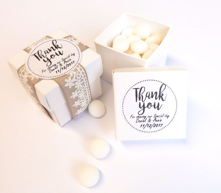 2INCH WHITE WEDDING FAVOUR BOX WITH PERSONALISED STICKERS, LABELS THANK YOU