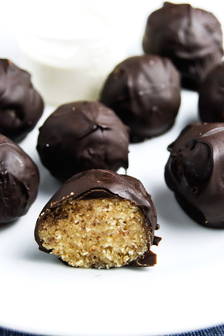 Almond protein truffles covered in chocolate