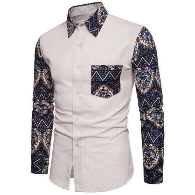 Fashion Spring Autumn Casual Men Shirt Slim Fit Flower ...