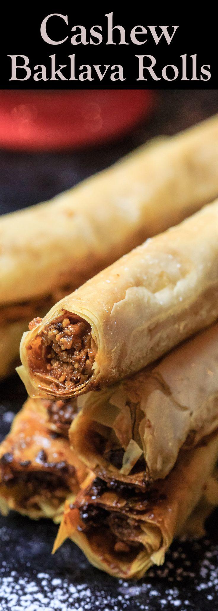 Cashew Filled Baklava Rolls | The Mediterranean Dish.