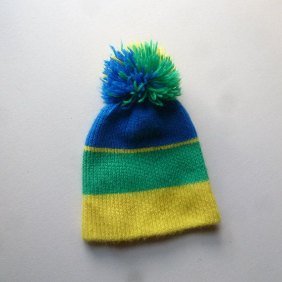 Bright Colored Tuque  Pom Pom Beanie  Ski Hat