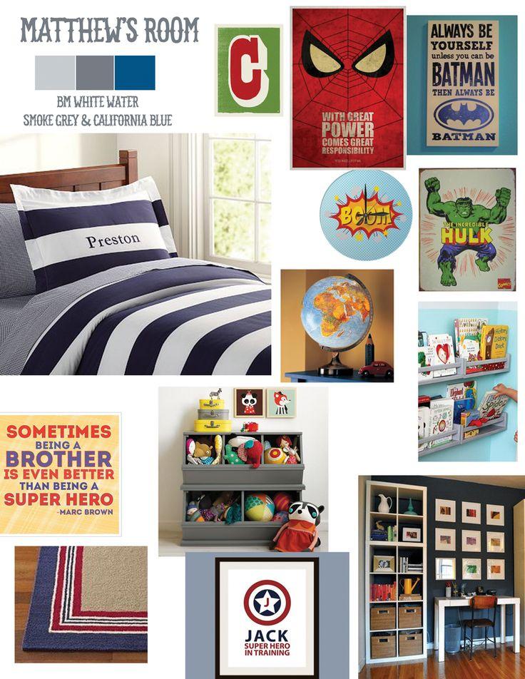 Super hero themed bedroom vision board for my son. #superhero room #boysroom