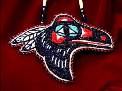 beaded necklace raven w feathers By Myra Doré (Tlinglit)