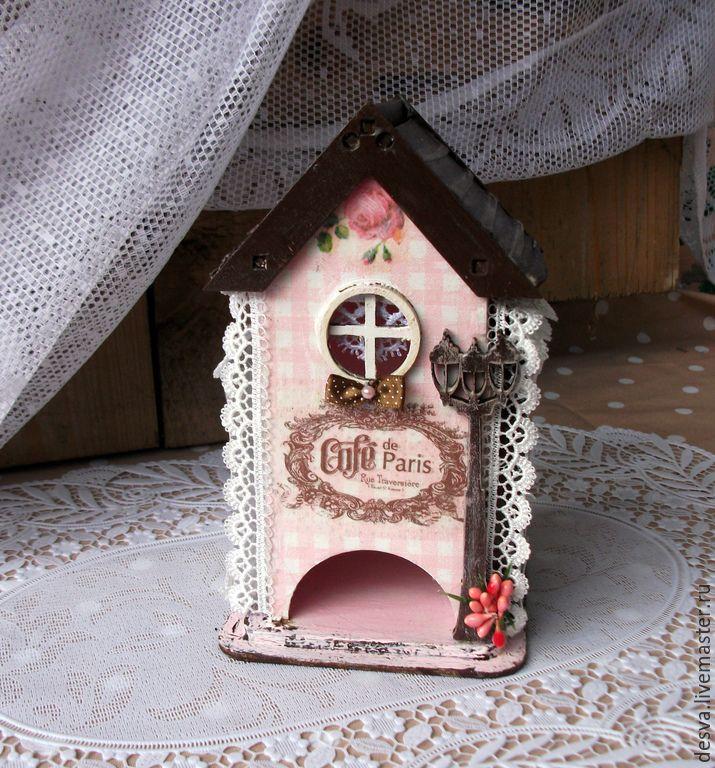 """Купить чайный домик """"Парижское кафе"""" - бледно-розовый, чайный домик, чайный домик декупаж"""
