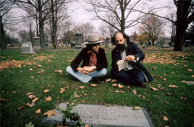 Bob Dylan and Allen Ginsberg, Edson Cemetery,  Lowell, Massachusetts, 1975, at the site of Jack Kerouac's grave - Photograph by Ken Regan. Allen and Peter and Dylan and hommages to Jack (as the Rolling Thunder tour passed through Lowell).