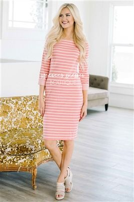 Pink Coral Stripe Modest Dress Bridesmaids Dress, Church Dresses, dresses for church, modest bridesmaids dresses, trendy modest dresses, modest womens clothing, affordable boutique dresses, cute modest dresses, mikarose, trendy modest boutique