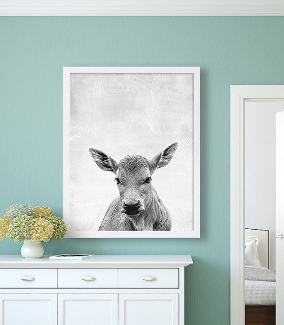 Cow Animal Print Black and White Art Grey Decor by CocoAndJames