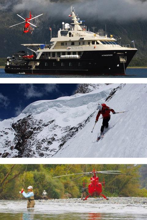 Interesante experiencia la de Nomads of the Seas: desayuno en el océano, una mañana de esquí en los picos de los Andes, buena pesca por la tarde y la cena en de nuevo en el barco...