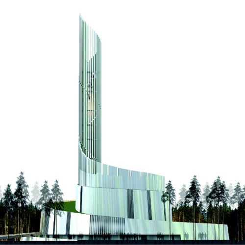 The Cathedral of the Northern Lights in Alta, Norway. Copper lacks sufficient reflective sheen for the cladding, so Lassen chose titanium, which will serve as a blurry mirror. - Image - Design Build Network