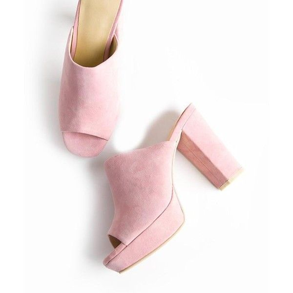 Pink Suede High Heel Mule Sandals (£99) ❤ liked on Polyvore featuring shoes, sandals, heels, suede sandals, mule shoes, high heel shoes, pink shoes and heeled sandals