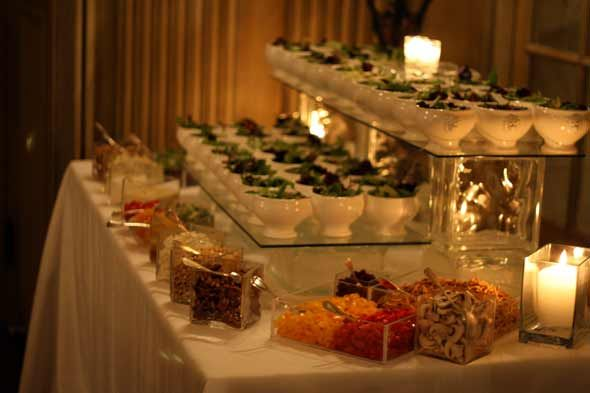 Salad portion of the soup and salad bar love the set up for Food bar ideas for wedding reception