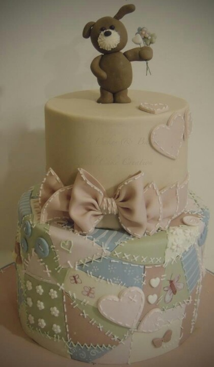 Patchwork quilt and teddy bear cake