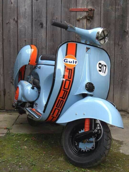 Modified 1964-ish Vespa with Porsche 917 / Ford GT-40 'Gulf' styling -- be-au-ti-ful! More