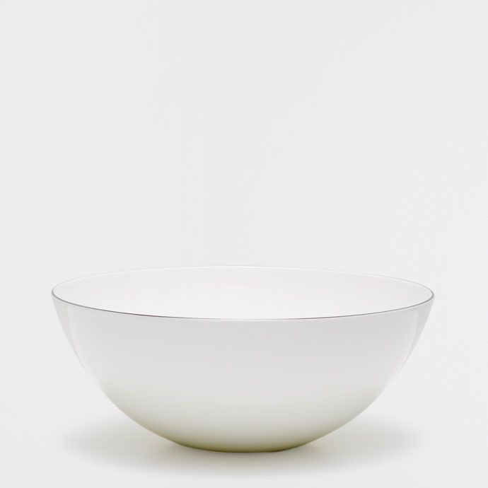 Image of the product Silver rim bone china salad bowl