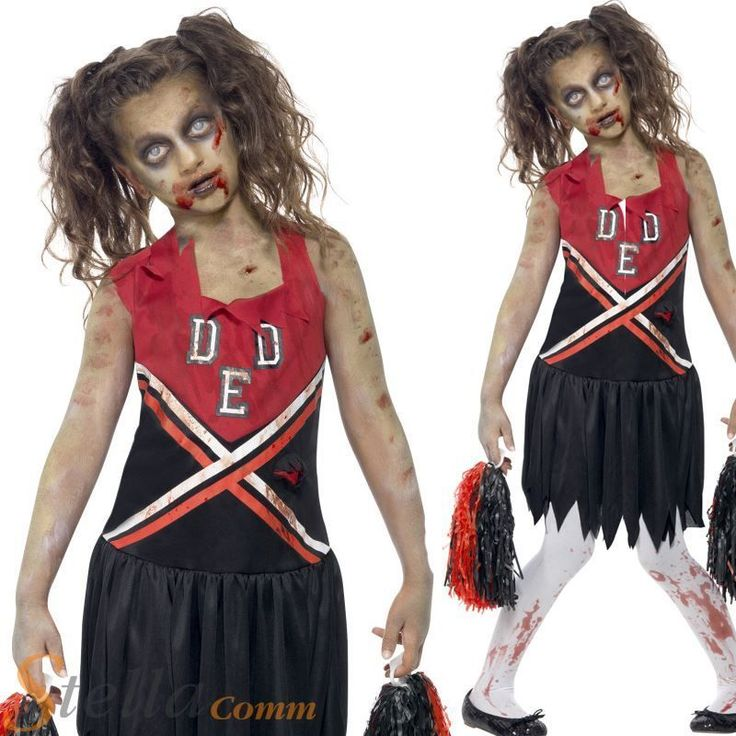 Girls Zombie Cheerleader High School Halloween Fancy Dress Costume Child Outfit