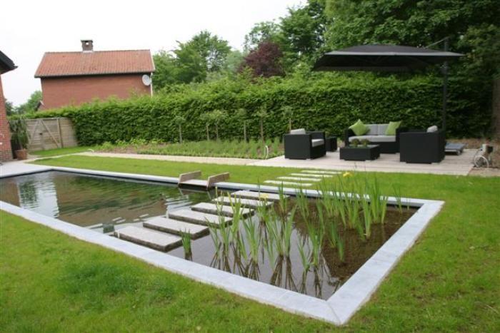 Strakke tuin met zwemvijver google zoeken tuinvijvers for Spiegelvijver maken