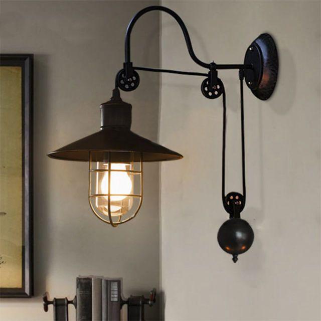 Industrial Pulley Wall Ligh Adjustable Wall Sconce Wall Lamp Barn Cafe Light   eBay