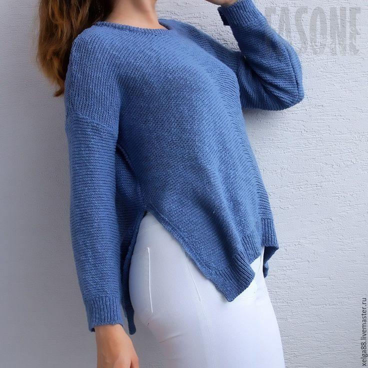 Купить Свитер синий хлопковый оверсайз. Свитер голубой. Свитер женский - свитер…