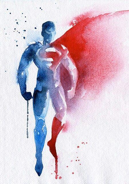 Watercolor Superman Tattoo Idea