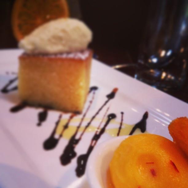 Cointreau and olive oil #cake with whipped ricotta, and #orange #saffron #sorbet. . #safood #sawine #showmemv #fleurieu #dessert