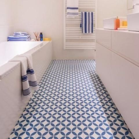 This Stunning Blue Vinyl Creates A Striking Focal Point For A Bathroom,  Adding Character And