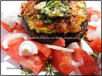 Cogumelo recheado com batata, courgette e queijo. Receita da Delícias cá de Casa. Veja a receita em: http://www.batatasdefranca.com/receitas/pratos.html#!prettyPhoto[cogumelo_batata_courgete_%20queijo]/0/  #Batata #Receita #Comida #Batatas #Cozinhar #batatascomsabor #pratos #cogumelo #courgette #queijo