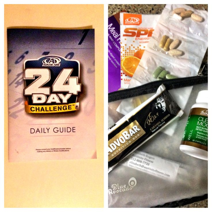 My 24-Day Challenge Pouch - I keep my Advo pouch handy with a MRS (meal replacement shake), a couple sparks, my MNS (metabolic nutrition system), AdvoBar (DB9!), and clear mood.. and of course, my daily guide! - AF  https://www.advocare.com/140649162/Store/ViewBundle.aspx?bundleID=1086629&type=B