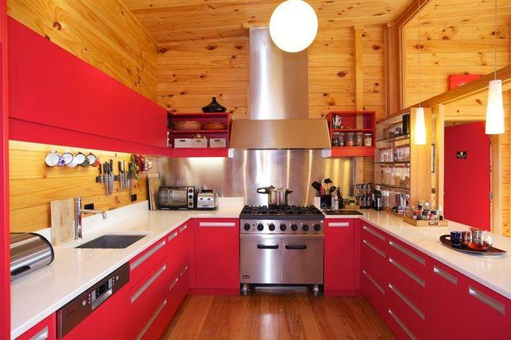Bright red Lockwood kitchen