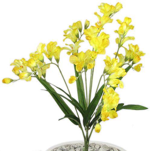 21  LIFE-LIKE FREESIA WEDDING SILK FLOWERS SPRAY YELLOW 073