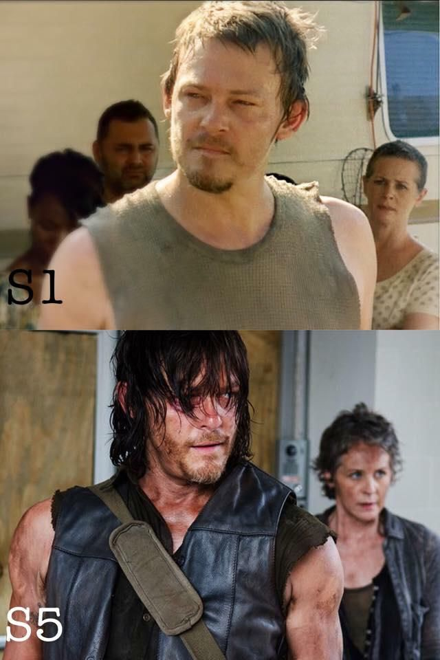 Daryl And Carol through the seasons of The Walking Dead. He seriously gets sexier by the season. Also Caryl might be my OTP...