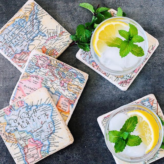 Want to make some adorable vintage inspired coasters? Try this quick 30 minute map coaster DIY!