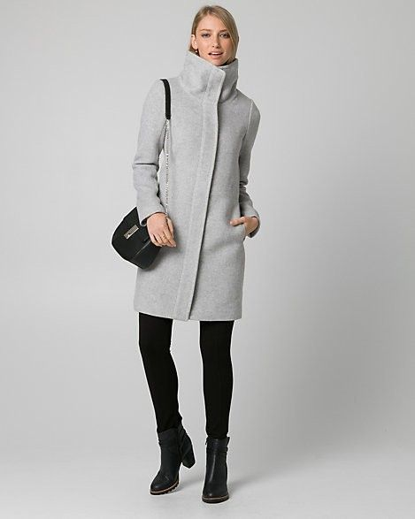Grey long, high neck wool coat from Le Chateau.  #wintercoat #coats #winter #wool #ad