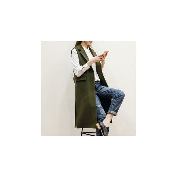 Sleeveless Long Blazer ($60) ❤ liked on Polyvore featuring outerwear, jackets, blazers, women, long blazer jacket, long sleeveless blazer, olive green blazer, sleeveless jackets and long length blazer