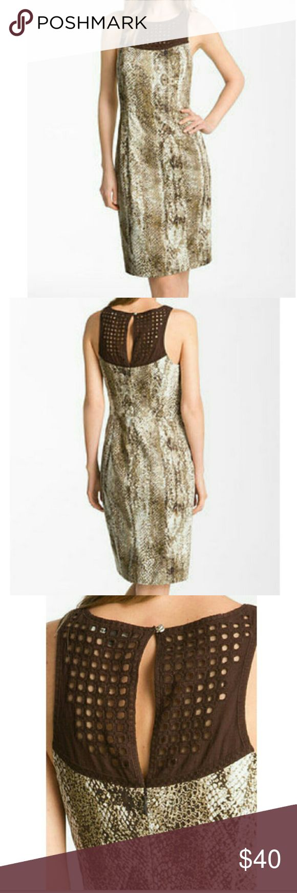 NWT Rachel Roy snake  print dress NWT Rochel Roy crochet bib snake print sheath dress Rachel Roy Dresses Mini
