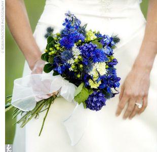 Bridal Bouquet: Queen Anne, Bridal Bouquets, Blue Flowers, Blue Delphiniums, Wedding Flowers, Bouquets Ideas, Flowers Ideas, Blue Bouquets, Blue Wedding