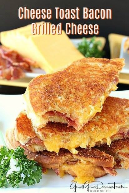 Cheese Toast Bacon Grilled Cheese!  Here's a different take on a grilled cheese sandwich. This cheese toast Bacon grilled cheese tastes great and is a good way to change up the standard grilled cheese. You know that delicious cheese toast from Sizzler that is sooooo delicious? Well, this amazing grilled cheese is made with that toast, which you make yourself, along with crispy Bacon and cheddar cheese making for one DELICIOUS sandwich.