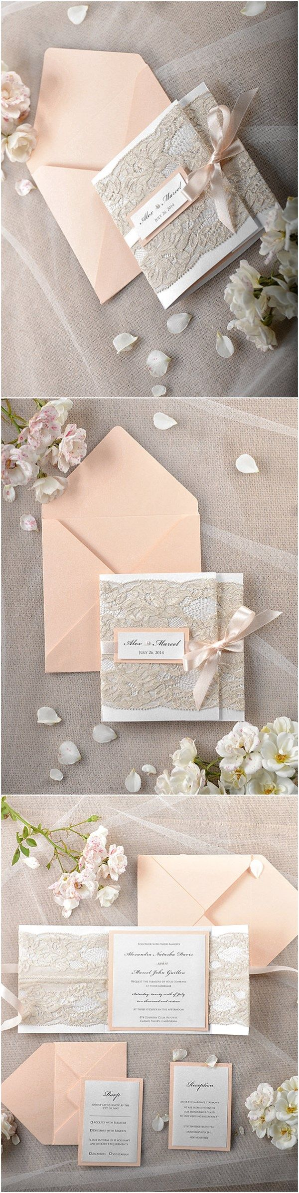 Peach Vintage Lace Coral Wedding Invitations